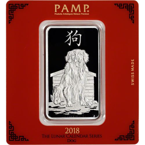 100 Gram Silver Bar Pamp Suisse Lunar Year Of The Dog 999 Fine In Assay Silver Silverbar Silver Bars Year Of The Monkey Lunar Year