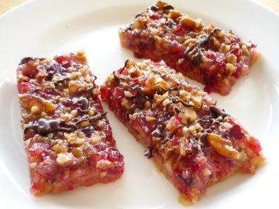 Cranberry Turtle Bars from No Fear Entertaining -- Tartness of fresh cranberries mixed with pecans and chocolate...  YUM!