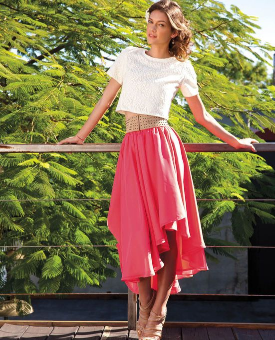 #DIY Lace Crop Top and Chiffon Wrap Skirt - Perfect Spring Outfit!