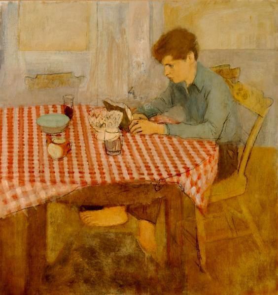 Menino sentado à mesa com toalha de xadrez vermelho, 1960 Fairfield Porter (EUA, 1907-1975) 103 x 98 cm The Parrish Art Museum, Southampton, NY