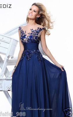 New Long Blue Applique Evening Formal Prom Party Cocktail Dresses ...