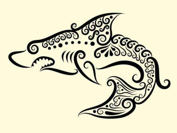 Handmade shark illustration