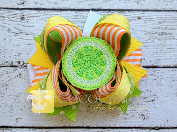 Lime Girl Hair Bow Boutique Clip  Citrus Colors by cococamila, $10.00