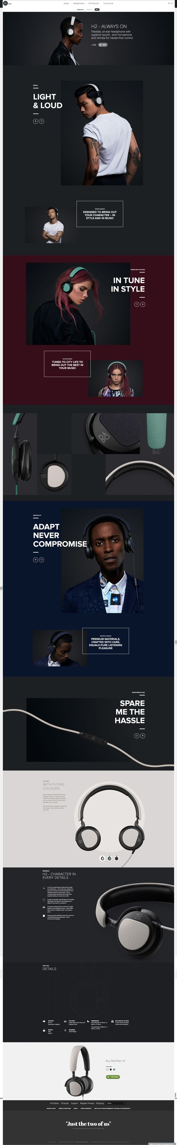 Bang & Olufson Beoplay H2. Just the two of us. (More design inspiration at www.aldenchong.com) #webdesign