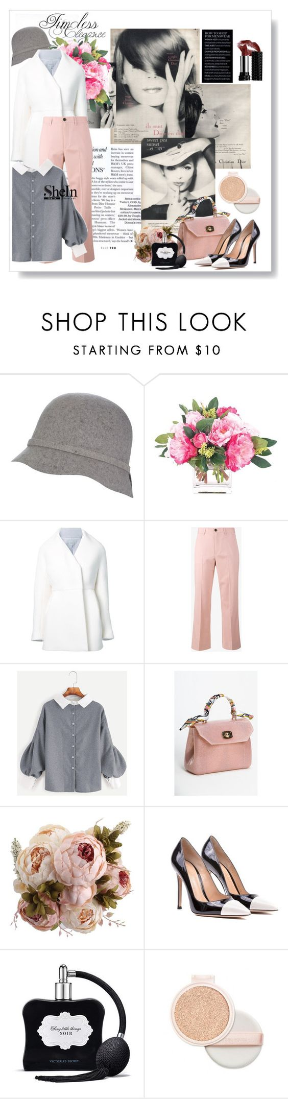 """Timeless Elegance with SheIn"" by metropulse ❤ liked on Polyvore featuring NDI, Delpozo, Miu Miu, Gianvito Rossi and Victoria's Secret"