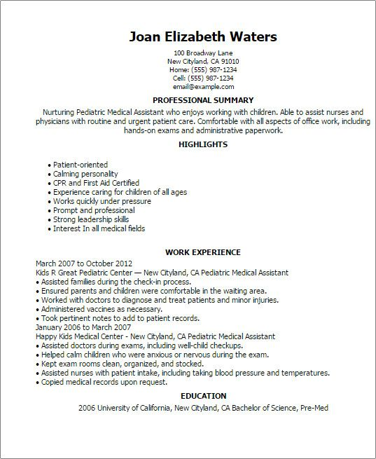 Resume Examples For Medical Assistant Special Pediatric Medical