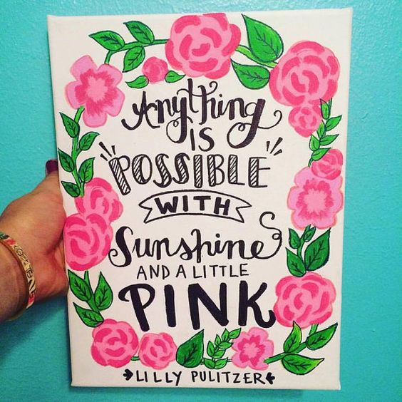 Lilly Pulitzer Sunshine and Pink Canvas Quote by AmberleyDesigns