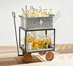 Galvanized Metal Three Tiered Stand Pottery Barn Party Bucket Metal Wagon Metal Serving Trays
