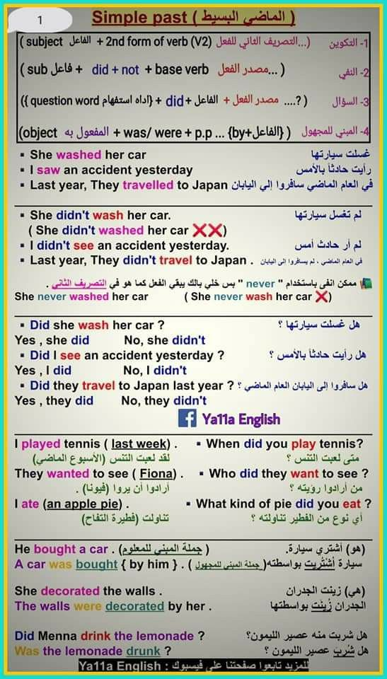 زمن الماضي البسيط Past Simple Words This Or That Questions Verb