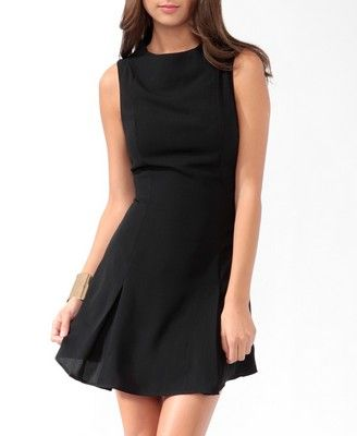 Pleated fit & flare dress