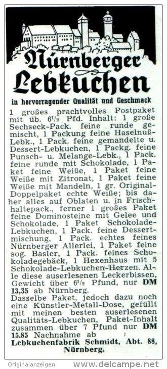Original-Werbung/ Anzeige 1957 - NÜRNBERGER LEBKUCHEN / SCHMIDT LEBKUCHEN NÜRNBERG - ca. 45 x 100 mm