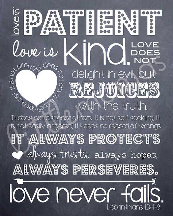 Wedding Reading Love Is Patient: Love Is Patient Printable 1 Corinthians 13