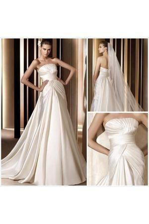 Vestido de noiva Sem Mangas Cauda Médio A-Line Gola Ondulada