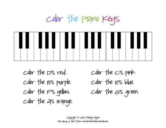 Color The Piano Keys Sheet Classes Piano Lessons Music
