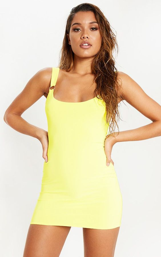 Yellow Slinky Ring Detail Square Neck Bodycon Dress Update your weekend wardrobe with this bright...