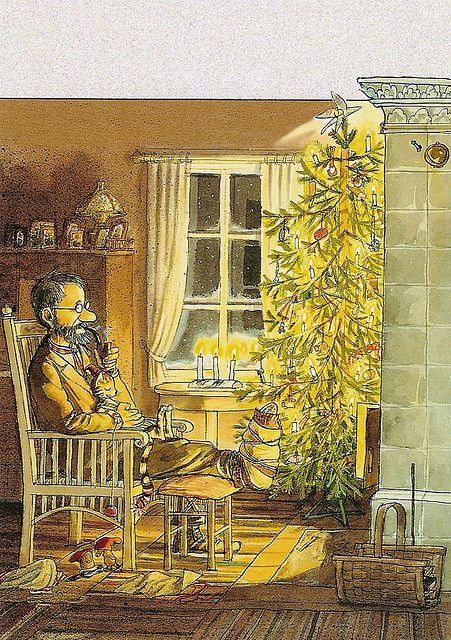 Pettson & Findus Christmas (I love the fact that the kitten is on his lap.  Everyone enjoys a warm fire.):
