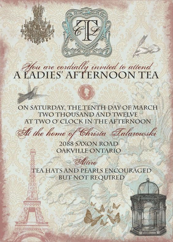 vintage tea party bridal shower invitation with by