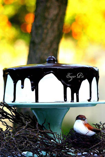 Triple Kahlua Chocolate Butter Cake with Belgian Dark Chocolate Ganache.