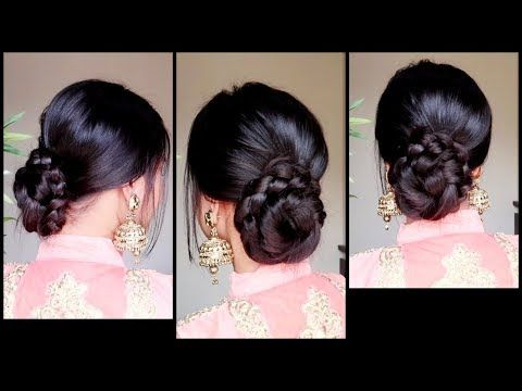 Quick Easy Braided Bun Hairstyle For Parties Indian Wedding Guest Hairstyle For Mediu Wedding Guest Hairstyles Indian Bun Hairstyles Indian Wedding Hairstyles