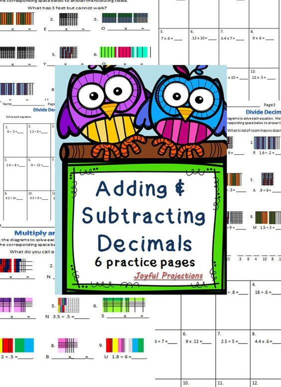set of 6 worksheets for independent practice of adding and subtracting ...