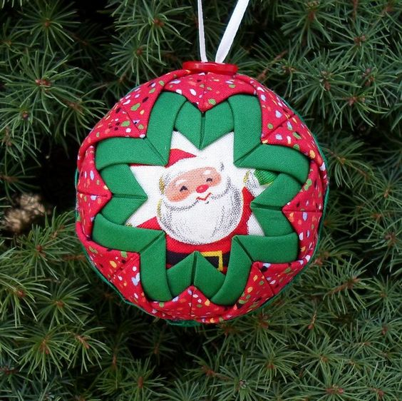 Folded Fabric Ball Homemade Ornaments | Free Folded Star Ornament Pattern | Quilted Christmas Ball Ornament ...
