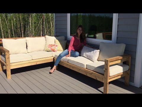 2x4 Outdoor Sectional Tutorial - YouTube               Uau! Como eu gostaria de morar em um lugar assim, onde é tão fácil e barato madeiras e ferramentas como as que a Ana usou. Aliás, essa menina é muito habilidosa! Adorei o projeto!