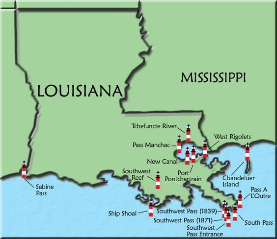 Louisiana Map of Lighthouses