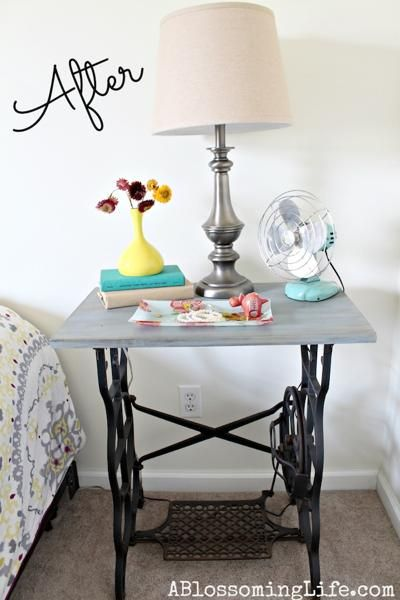 Cool bedside table made from old treadle sewing machine