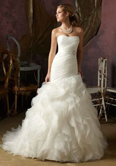 organza mermaid strapless with ruffles and sash floor-length wedding dress
