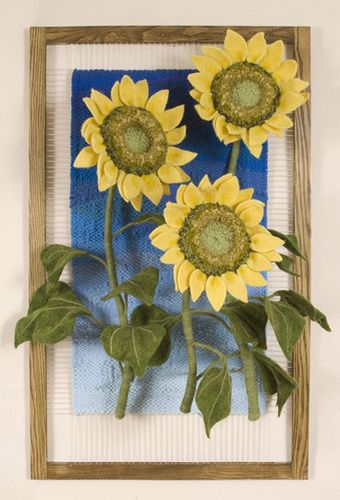 Three Sunflowers, dimensional weaving: