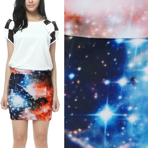 Women-Bright-Fiery-Digital-Galaxy-Starry-Sky-Print-Stretch-Mini-Skirt-A-line-M-L