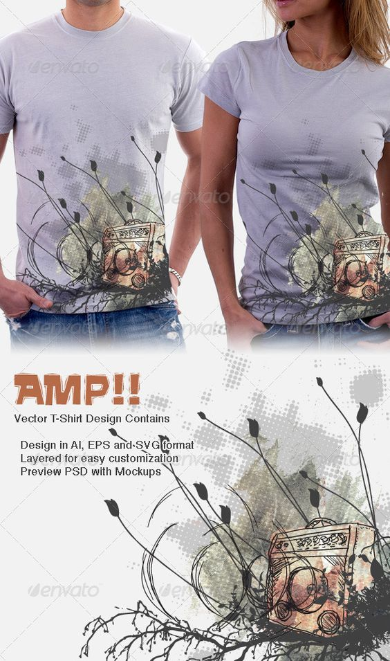 Amp 11 - Amplifier band T-Shirt Grunge Design Template Vector EPS, Vector AI. Download here: http://graphicriver.net/item/amp-11-amplifier-band-tshirt-design/1206552?s_rank=839&ref=yinkira