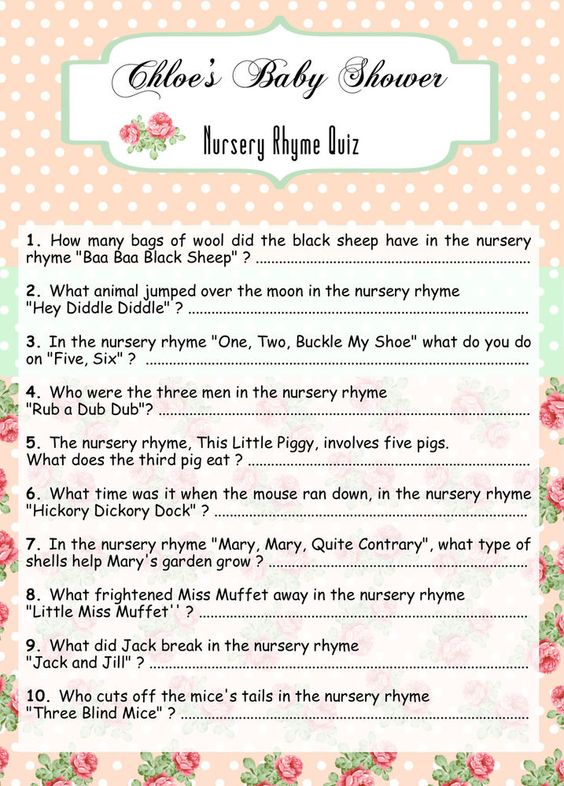 10 x Personalised Baby Shower Nursery Rhyme Quiz Party ...