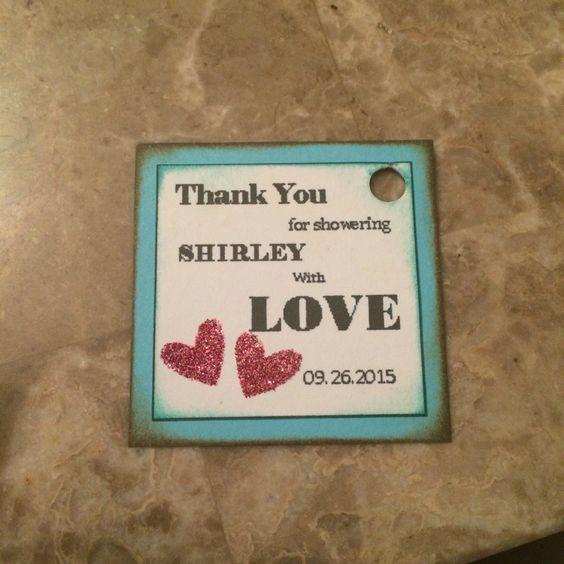 Handmade bridal shower favor tag