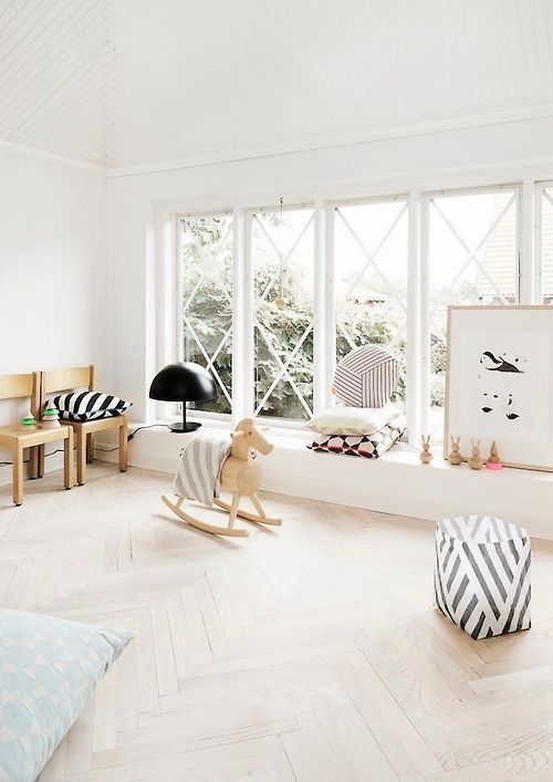 So much light! Light white modern nursery kids room