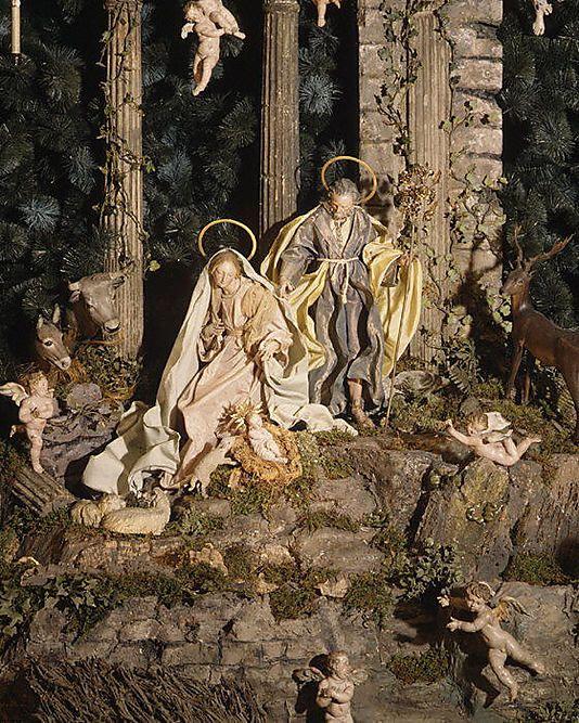 Neapolitan Baroque St. Joseph Figure  along with the Virgin Mary Figure, both,Salvatore di Franco, 18th c.: