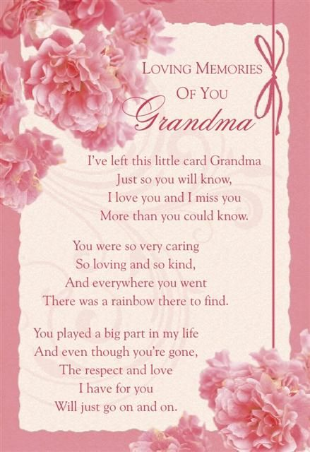 WE LOVE AND MISS YOU SO MUCH GRANNY JON, BEN, ANDREW, SAM AND KATIE