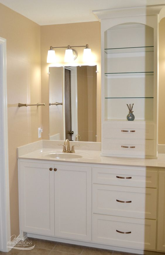 Bathroom Remodel Vanity With White Painted Cabinets Open