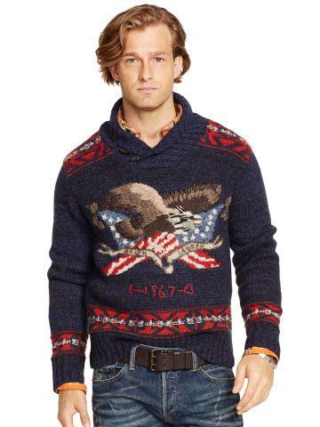 Intarsia-Eagle Shawl Pullover - Polo Ralph Lauren Shawl \u0026amp; Turtleneck - RalphLauren.com