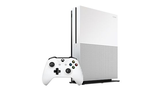 Xbox One S 2TB Console standing vertically angled view