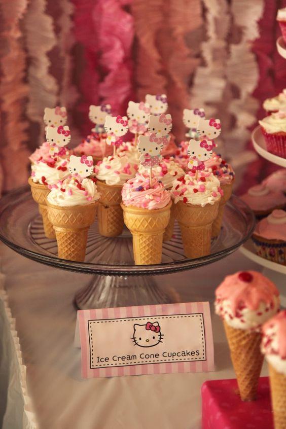 Cupcakes dentro de conos de helados, para fiesta de Hello Kitty.