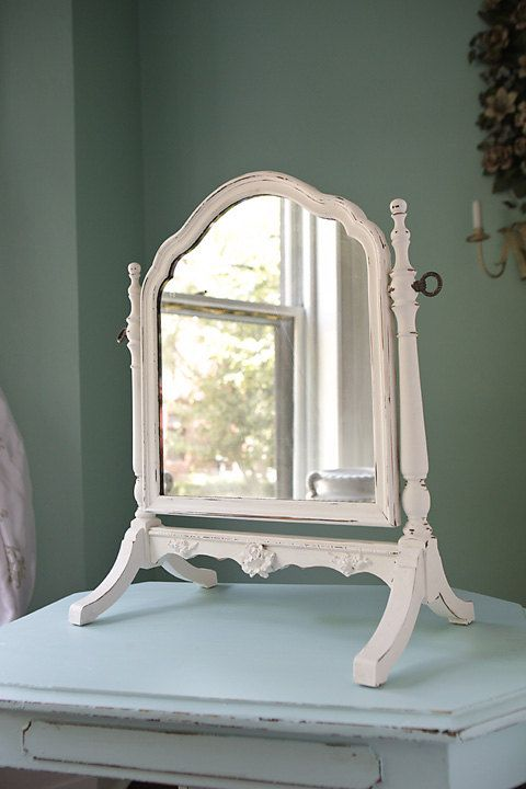Table top mirror shabby chic white distressed antique standing tilting  roses | Shabby, Tilt and Flea market style