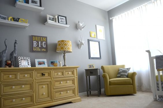 Gray and Yellow Nursery - so many great accents in this sweet room #grayandyellow #nursery: Coventry Grey, Grey Nurseries, Dresser Idea, Grey Yellow, Babies Nursery, Baby Nursery, Grey Nursery, Baby Nurseries