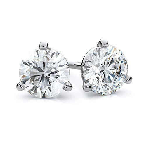 14k White Gold 2 Carat Diamond 1 4 Stud 3 Prong Screwback Earrings H I Color Vs1 Vs2 C In 2020 Diamond Studs Diamond Earrings Studs Round Beautiful Diamond Earrings