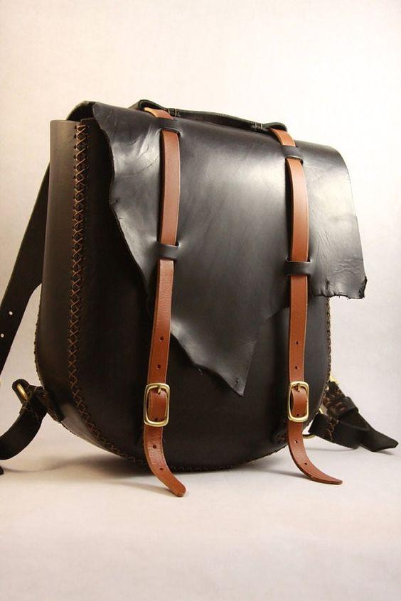 handmade black leather backpack for girls - metal hardware-f14838 ...