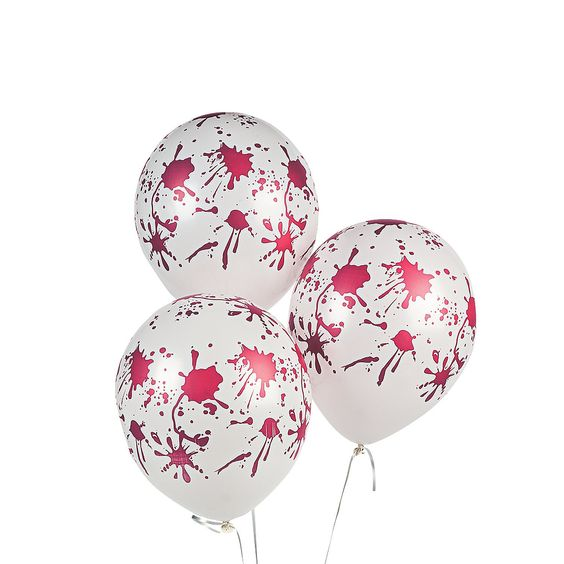 Latex Blood Spattered Balloons - OrientalTrading.com