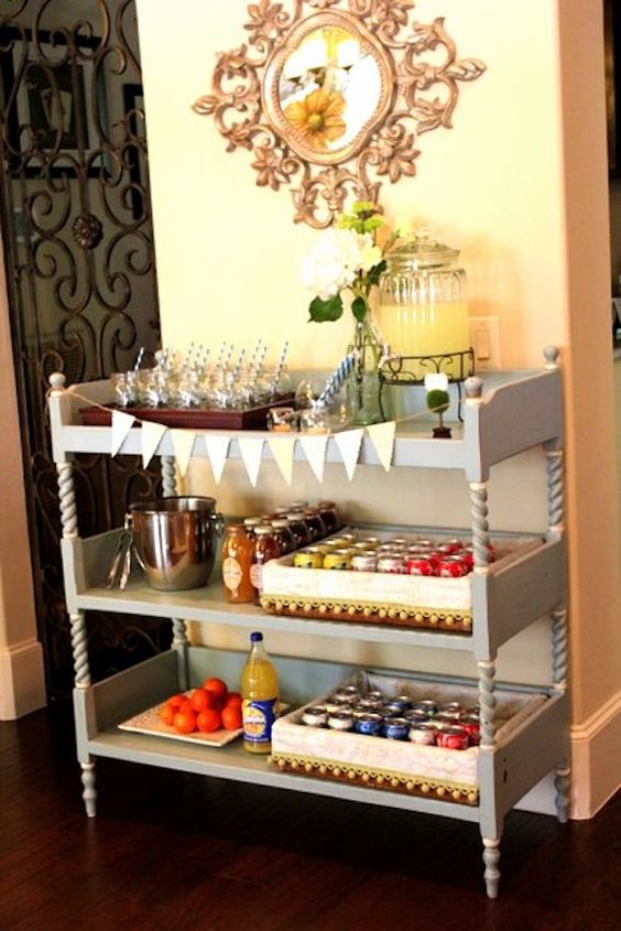 Old changing table turned drink station. Smart.