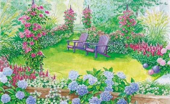 Der Vorgarten ist die Visitenkarte Ihres grünen Reichs. Mit diesen Gestaltungsvorschlägen geben sich Gartenfreunde bei Ihnen die Klinke in die Hand. (Pflanzplan als PDF zum Herunterladen und Ausdrucken)