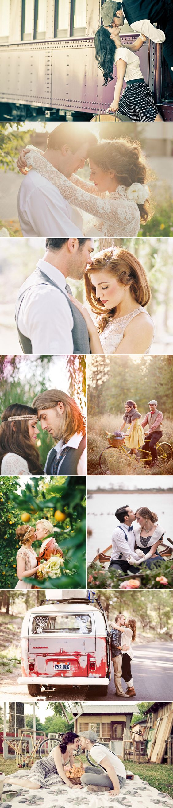 Vintage-inspired engagement photos via @praisewedding #PerfectPoses