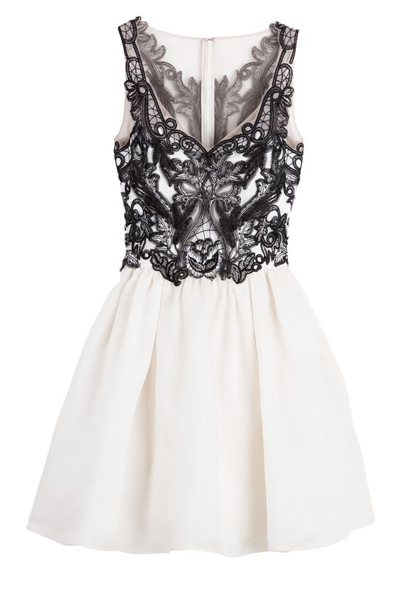 Marchesa Notte Contrast Silk Gazaar Dress